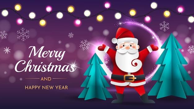 Lustiger weihnachtsmann mit weihnachtsbäumen und girlande auf einem lila hintergrund.