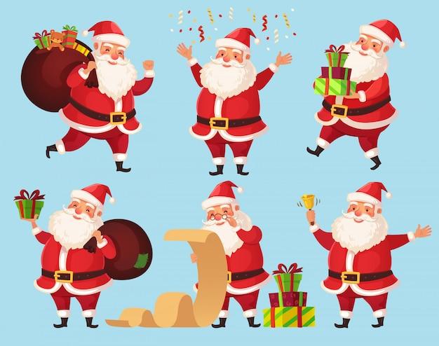 Lustiger weihnachtsmann mit weihnachtsgeschenken, winterurlaubcharaktere