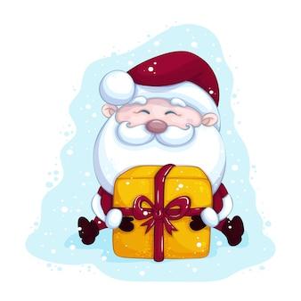 Lustiger weihnachtsmann sitzt mit einer großen geschenkbox. weihnachtsvektorcharakter auf hintergrund mit schnee.