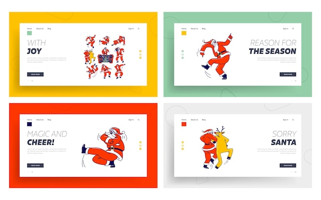 Lustiger weihnachtsmann und rentier tanzende landing page template set.