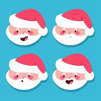 Lustiger weihnachtsmannkopf mit verschiedenen emotionen karikatur gesetzt lokalisiert auf hintergrund