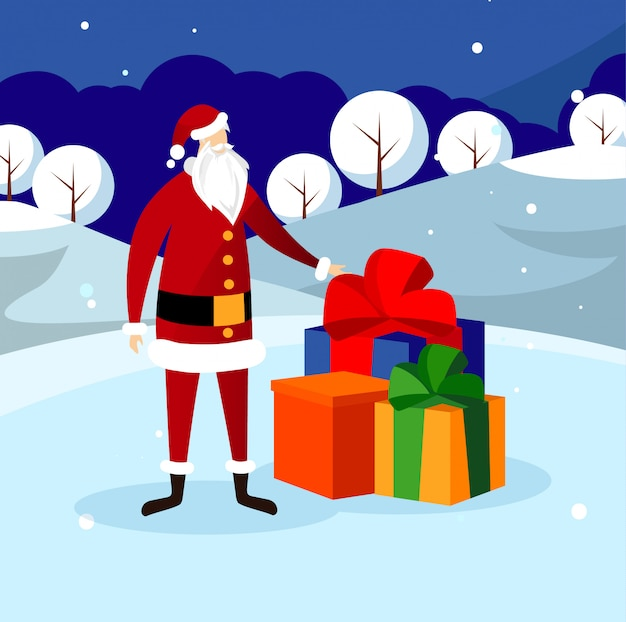 Lustiger weihnachtsmannstand nahe großem stapel von geschenken