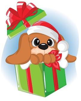Lustiger welpe in den geschenkboxen. weihnachtskarte bekommen.