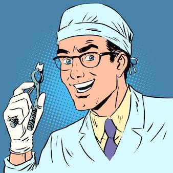 Lustiger zahnarzt zog einen retro comic der zahnpop-kunst aus