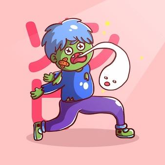 Lustiger zombie-cartoon mit geist
