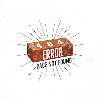Lustiges 404-fehlerseitenkonzept mit ziegelstein