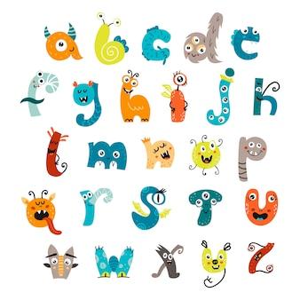 Lustiges alphabet mit niedlichen monstern.