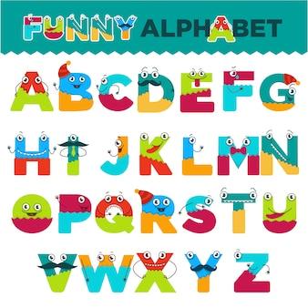 Lustiges alphabet von zeichentrickfilm-figuren vector gussbuchstaben von komischen monstergeschöpfgesichtern für kinderdesign