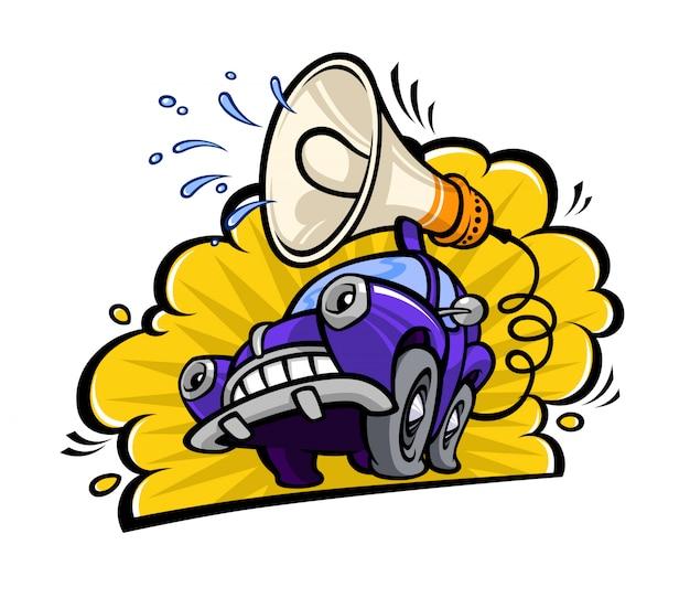 Lustiges auto der karikatur mit einem megaphon