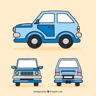 Lustiges auto in verschiedenen ansichten