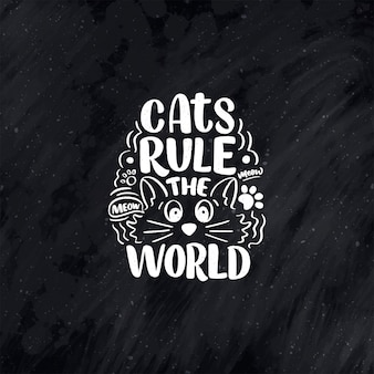 Lustiges beschriftungszitat über katzen für druck im handgezeichneten stil.