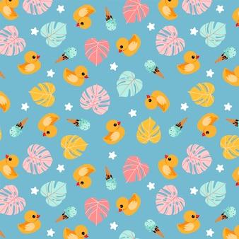 Lustiges blaues muster der gummiente. handgezeichnetes trendiges sommermusterdesign. tropische monsterblätter, badeenten und eiscreme. wiederholbares design der tropischen sommerzeit für geschenkpapier, banner, karte.