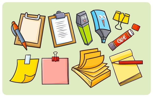 Lustiges briefpapier eingestellt für büroangestellten im kawaii gekritzelstil