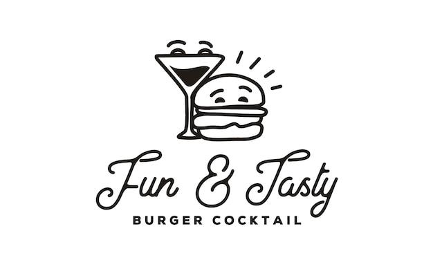 Lustiges burger- und cocktaillogo mit hipster-linie artart