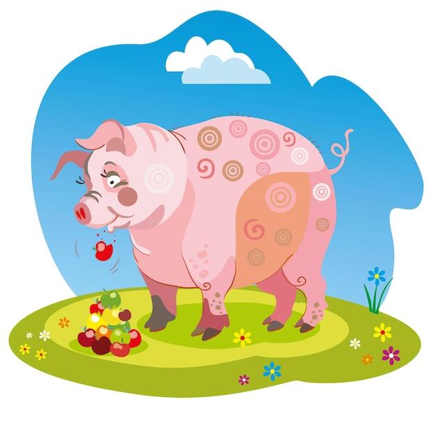Lustiges cartoon-schwein