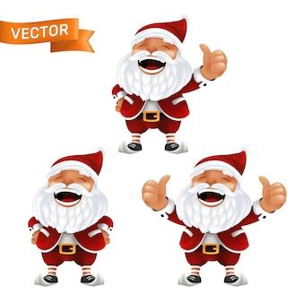 Lustiges cartoon-set der kleinen weihnachtsmann-maskottchen ohne brille in einem roten hut mit daumen hoch. von lachenden charakteren mit weißem bart lokalisiert auf einem weißen hintergrund