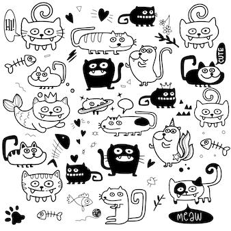 Lustiges doodle cats set. hand gezeichnete illustration.