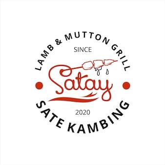 Lustiges einfaches satay-logo-stempel-abzeichen