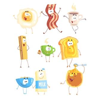 Lustiges fast food, eingestellt auf. frühstücksprodukte stehend und lächelnd. cartoon detaillierte illustrationen