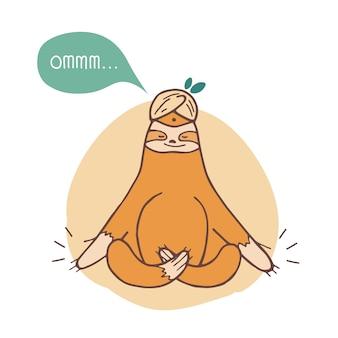 Lustiges faultier, das mit gekreuzten beinen sitzt und meditiert. faul lächelndes exotisches tier, das yoga praktiziert, isoliert. entzückende zeichentrickfigur. kindliche illustration im flachen stil.