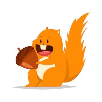 Lustiges fettes eichhörnchen mit einer nuss. flacher charakter der vektorkarikatur des waldtiers.