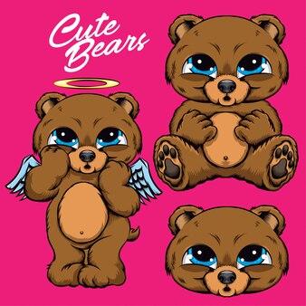 Lustiges gesichtsset des niedlichen teddys des bären