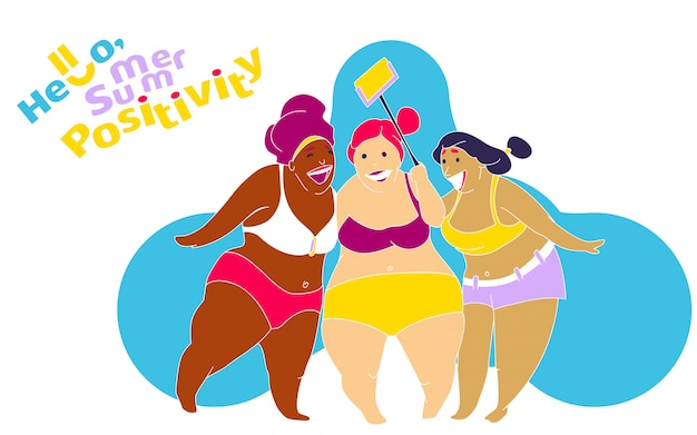 Lustiges glückliches fettes mädchen auf dem sommerstrand