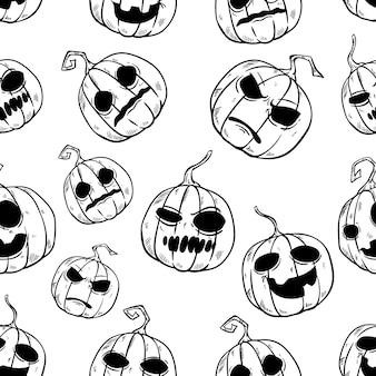 Lustiges halloween-kürbis-nahtloses muster mit hand gezeichneter art