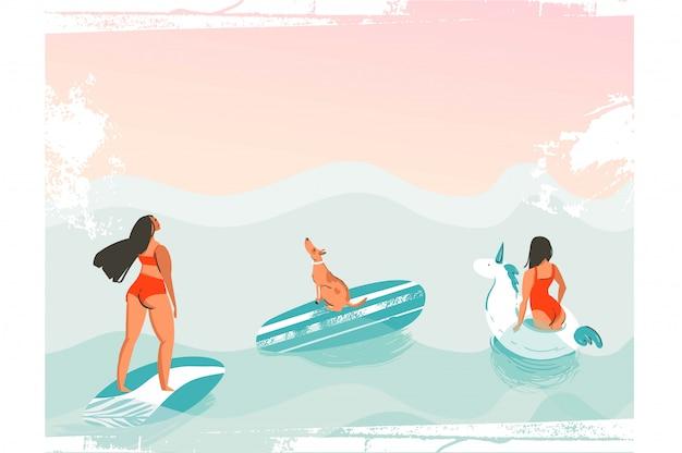 Lustiges illustrationsplakat der hand gezeichneten karikaturgrafik-sommerzeit mit surfermädchen im roten bikini mit hund lokalisiert auf blauen ozeanwellen