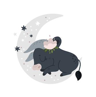 Lustiges kalbbabytier, kleiner stier, stier, der auf dem mond schläft