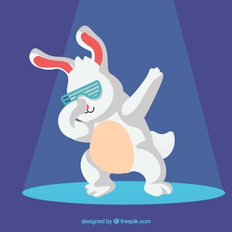 Lustiges kaninchen, das das tupfen tut