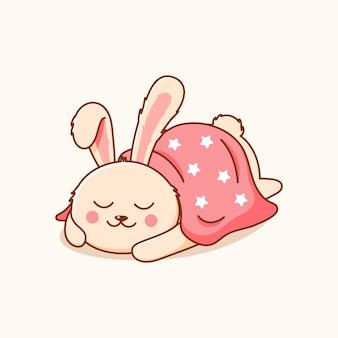 Lustiges kaninchen schlafend von decke bedeckt symbol illustration hase logo tier logo konzept weiß isoliert flach cartoon stil geeignet für web landing page banner flyer sticker card