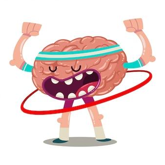 Lustiges karikaturgehirn bildet mit hula band aus. vektorcharakter eines inneren organs lokalisiert. brainstorming-abbildung.
