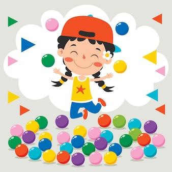 Lustiges kind, das mit bunten bällen spielt