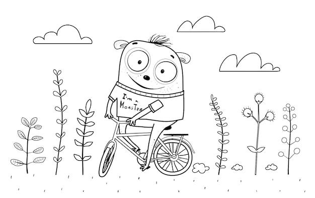 Lustiges kindermonster, das in der natur mit blumen fahrrad fährt