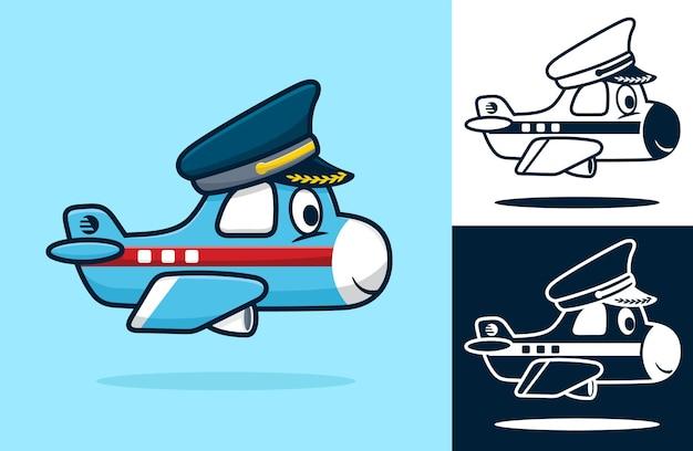 Lustiges kleines flugzeug, das pilotenhut trägt. karikaturillustration im flachen ikonenstil