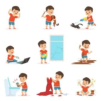 Lustiges kleines kind, das spiele spielt und unordnung macht
