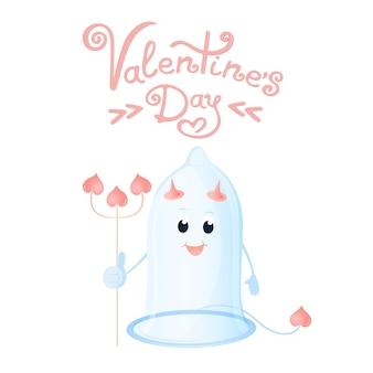 Lustiges kondom mit hörnern und einem dreizack. grußkarte zum valentinstag.