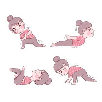 Lustiges mädchen im yoga stellt satz ein