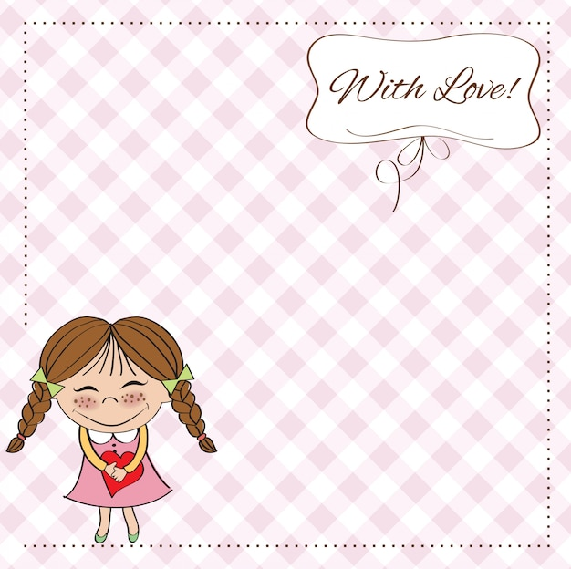 Lustiges mädchen verliebt in herz. doodle zeichentrickfigur für valentinstag