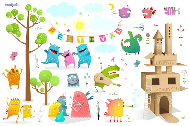 Lustiges märchenereignis für kinder, die spiel mit pappschloss-clipart spielen.