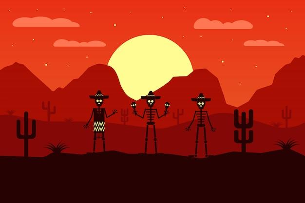 Lustiges mexikanisches skelett mit sombrero in der wüste