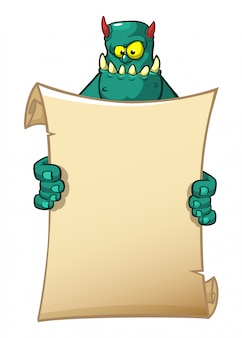 Lustiges monster der karikatur, das leeres papier hält