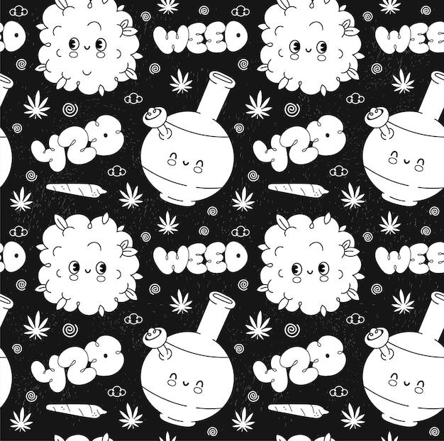 Lustiges nettes retro- unkraut-marihuana-weinlese-nahtloses muster