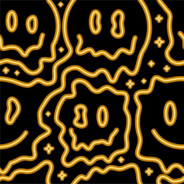 Lustiges psychedelisches surreales schmelzlächeln gesicht neonlicht nahtloses muster. nahtloses muster der vektorillustration. lächelndes gelbes neongesichtsschmelze, säure, techno, trippy druck für t-shirt, poster, kartenkonzept