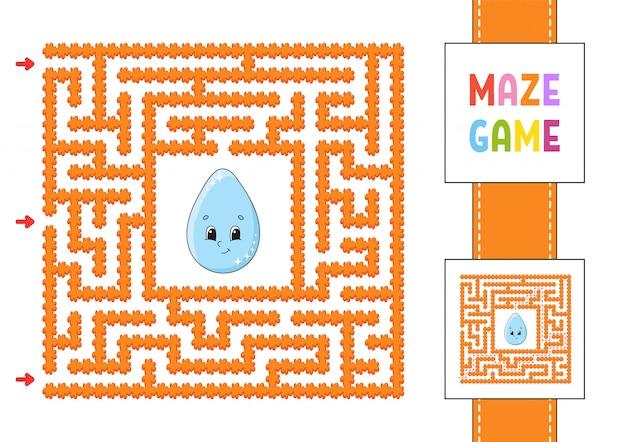 Lustiges quadratisches labyrinth. spiel für kinder.