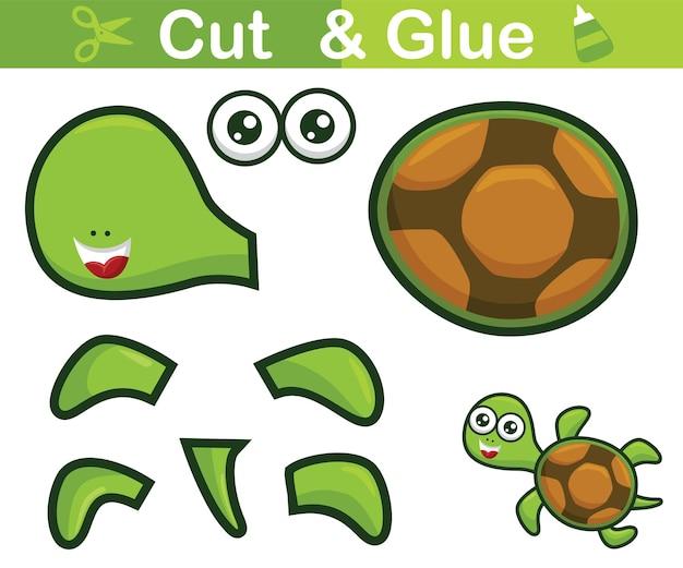 Lustiges schildkrötenkarikaturschwimmen. bildungspapierspiel für kinder. ausschneiden und kleben