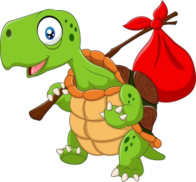 Lustiges schildkrötenreisen der karikatur lokalisiert auf weißem hintergrund