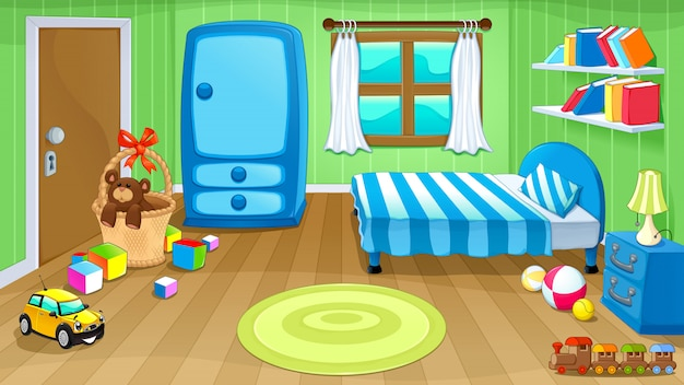 Lustiges schlafzimmer mit spielzeug