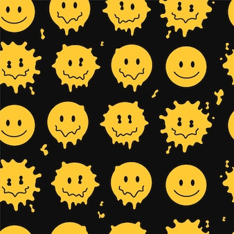 Lustiges schmelzlächeln stellt nahtloses muster gegenüber. gezeichnete gekritzelzeichentrickfilm-figurillustration des vektors hand. lächeln gesichter schmelzen, säure, trippiges nahtloses mustertapetendruckkonzept